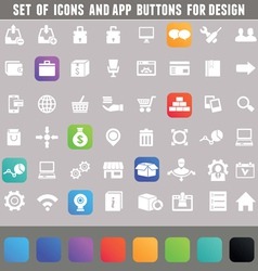 Set of icons and app buttons for design vector