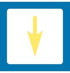 Sharp Down Arrow flat yellow and white colors vector image