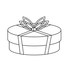shopping gift box in black and white vector image