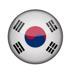 south korea flag in glossy round button of icon vector image