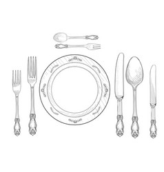 Table setting fork knife spoon plate sketch set vector