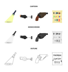 The detective flashlight illuminates the footprint vector