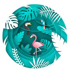 toucan parrot and flamigo bird in tropical vector image