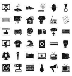 Tv icons set simple style vector