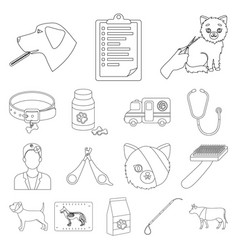 veterinary clinic outline icons in set collection vector image