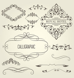 vintage calligraphic frames with vignettes vector image