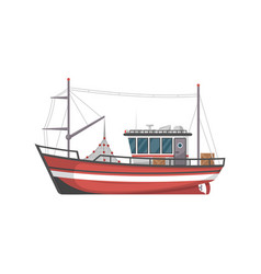 Vintage fishing boat side view icon vector