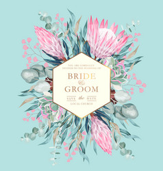 Vintage wedding card with protea and greenery vector