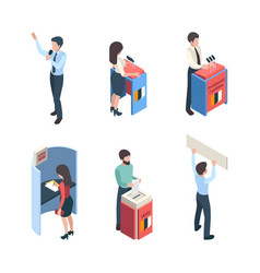 vote isometric political people speakers reporter vector image