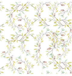 Watercolor pattern with leaves and oak acorn vector