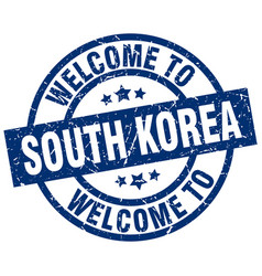 Welcome to south korea blue stamp vector