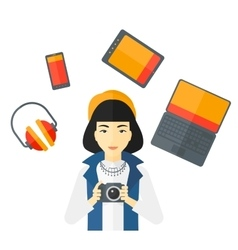 Woman holding camera vector