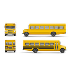 Yellow school bus front back and side view vector