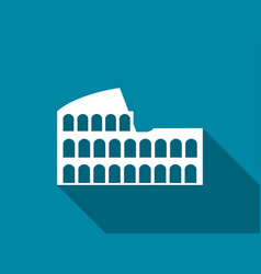 coliseum with a long shadow flat icon vector image