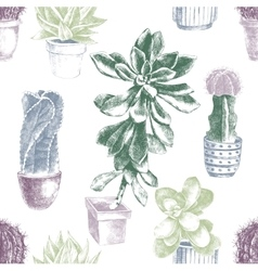 Hand drawn pattern with cactuses and succulents vector image