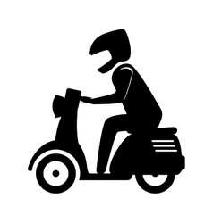 man riding scooter motorcycle vector image