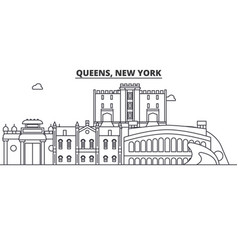 queens new york architecture line skyline vector image