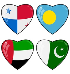 Set of images of hearts with the flags of Pakistan vector image