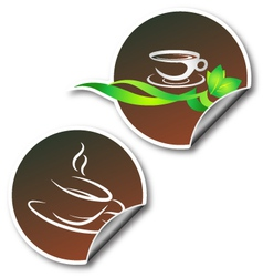 sticker with coffee cup vector image vector image