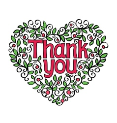 thank you hand lettering in shape of heart vector image