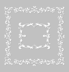 White frame with floral ornament vector
