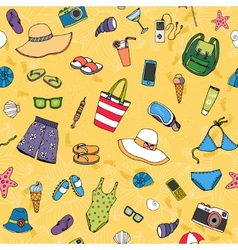 Beach seamless background pattern vector image