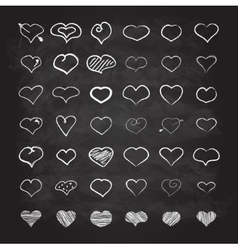 Big set of chalk hearts vector image