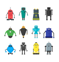 cartoon cute toy robots color icons set vector image vector image