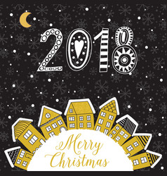 christmas greeting card with houses placed vector image vector image