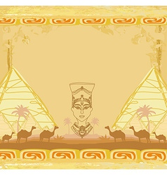 Grunge background with egyptian queen vector