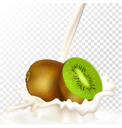 kiwi and milk vector image