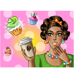 pop art african american woman holding vector image vector image