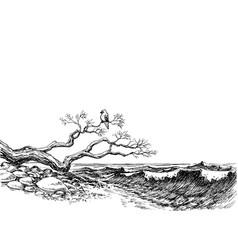 sea shore wild beach sea waves vector image vector image