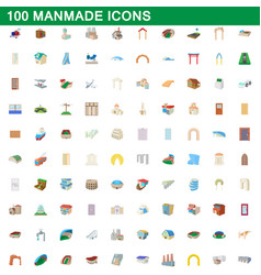 100 manmade icons set cartoon style vector image