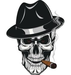 Evil skull with cigar vector