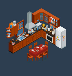 isometric wooden kitchen interior and utensils vector image