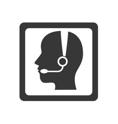 monochrome square button with call center operator vector image