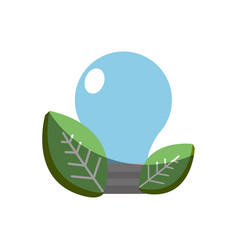 save bulb with leaves icon vector image vector image
