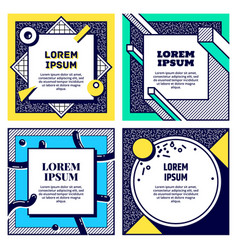 set of cool memphis style cards vector image vector image