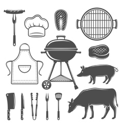 BBQ Decorative Graphic Flat Icons Set vector image
