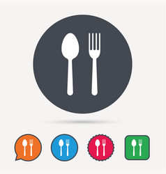 food icons fork and spoon sign vector image vector image