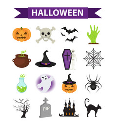 happy halloween icons set flat style isolated on vector image