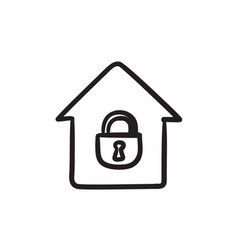 house with closed lock sketch icon vector image vector image