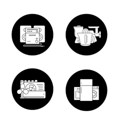 Household appliances black icons set vector image