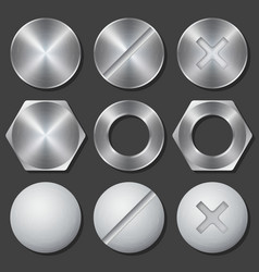 Screws nuts and bolts realistic icons set vector image vector image