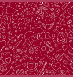 valentines day seamless pattern - doodle style vector image vector image