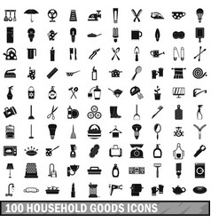 100 household goods icons set simple style vector