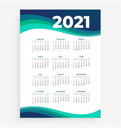 2021 new year wave style calendar template design vector
