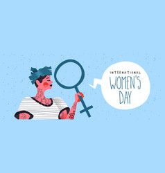8 march womens day banner young woman vector