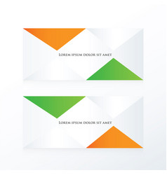 abstract pyramid banner orange green vector image